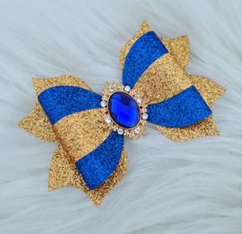 Haarstrik Aurora blauw/goud/glitter