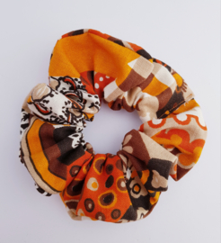 Scrunchie Retro bruin/oranje