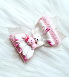 Luxe haarstrik Bunny roze/wit