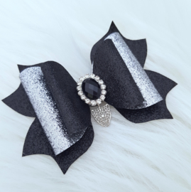 Luxe haarstrik Tiger zwart/glitter