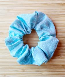 Scrunchie blauw met witte stip