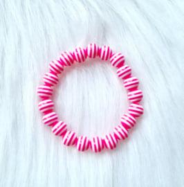 Armbandje streep roze