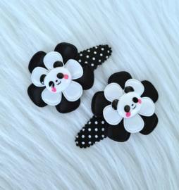 Haarspeldjes Panda zwart/wit