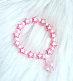 Armbandje sterren roze