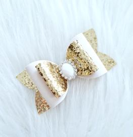 Haarstrik Nienke wit/goud/glitter