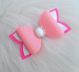 Haarstrik Tess wit/ neon roze/glitter