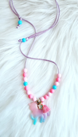 Kinderketting Unicorn roze/blauw/glitter