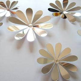 3D muurstickers Bloem zilver/spiegel