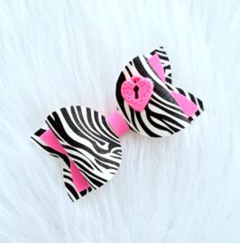 Haarstrik Zebra met fimo hartje