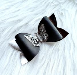 Haarstrik Vlinder zwart/zilver