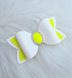Haarstrik Yara wit/neon geel