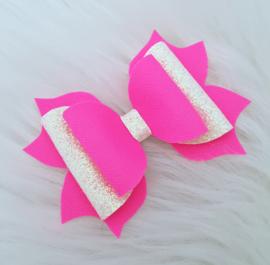 Luxe haarstrik Sol neon roze/witroze glitter