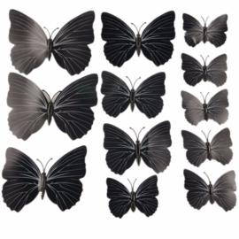 3D muurstickersVlinders met lijfje zwart