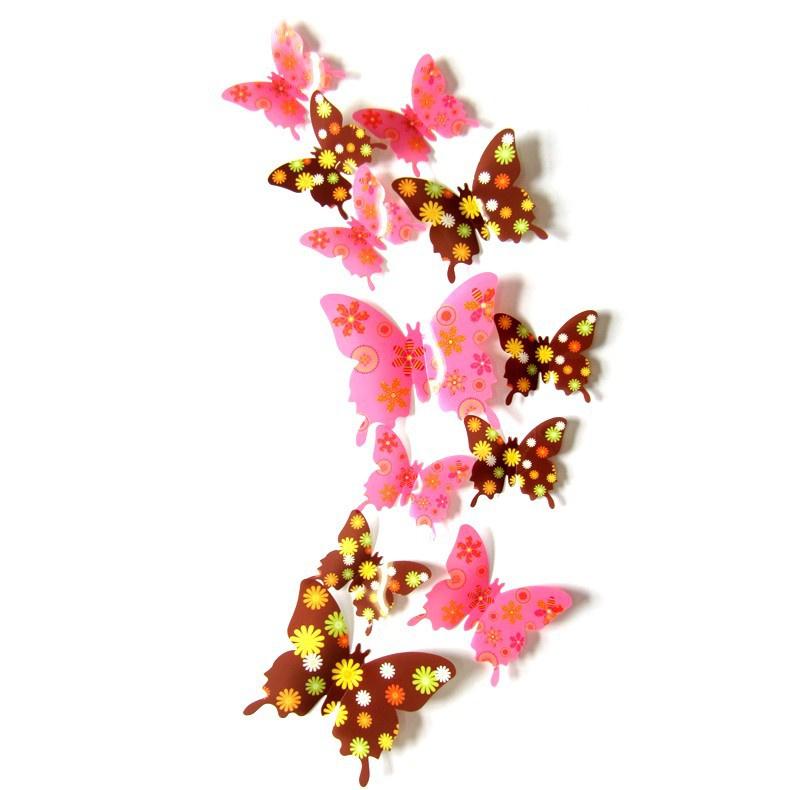 3D muurstickers Vlinders Retro