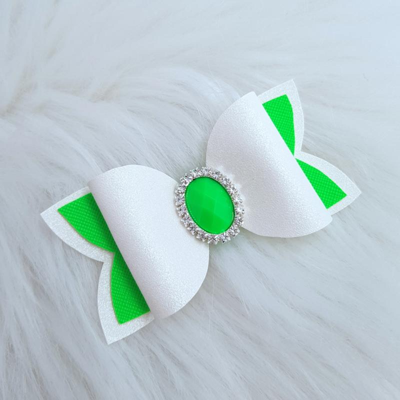 Haarstrik Evi wit/ neon groen