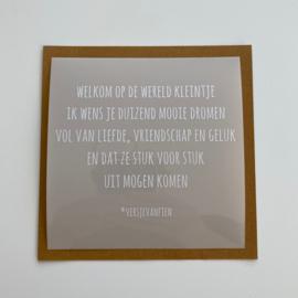 Raamsticker Welkom op de Wereld 13 cm x 13 cm