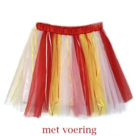 Tule rok carnaval (rood wit geel)