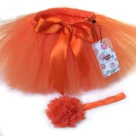 Oranje baby tutu & haarband