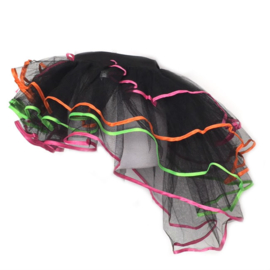 Burlesque tutu zwart met neon lintjes