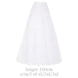 Lange petticoat wit