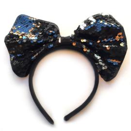 Glitter strik diadeem - zwart