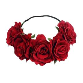Bloemen haarband donkerrood