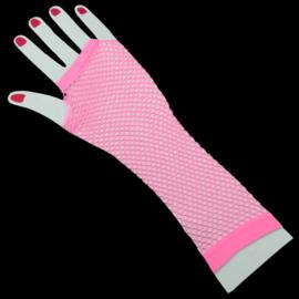 Lange net handschoenen neonroze