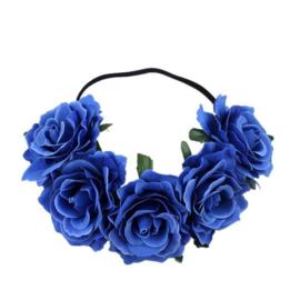 Bloemen haarband blauw