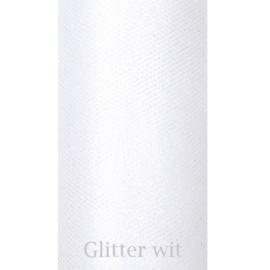 Wit glitter tule 9m