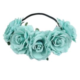 Bloemen haarband lichtblauw