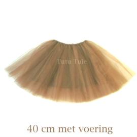 Lichtbruin tule rokje 40cm met voering