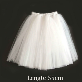 Witte lange tutu rok 55cm