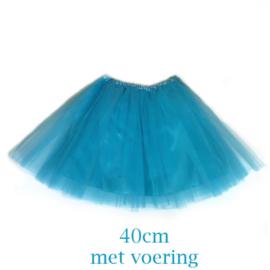 Aquablauw tutu rokje 40cm met voering