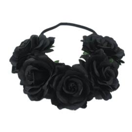 Bloemen haarband zwart