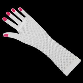 Lange net handschoenen wit
