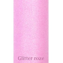 Roze glitter tule 9m