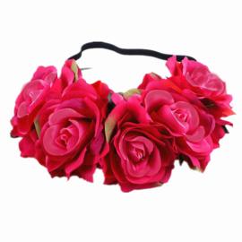 Bloemen haarband fuchsia