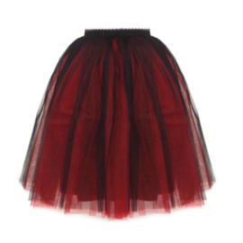 Tule rok zwart-rood