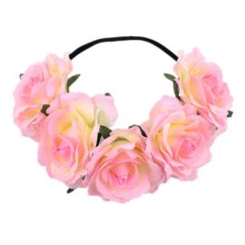 Bloemen haarband lichtroze