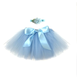 Lichtblauw baby tutu & haarband