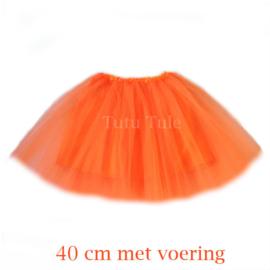 Oranje tule roke 40cm met voering