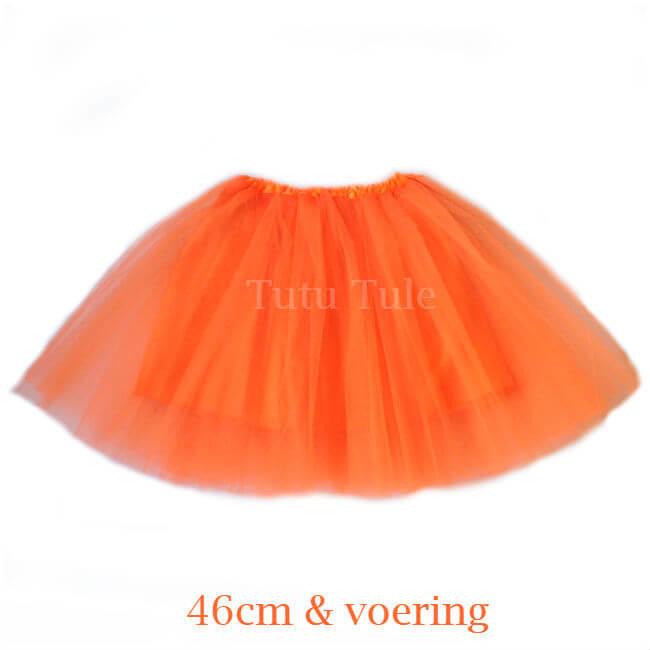 Oranje tutu rokje 46cm met voering