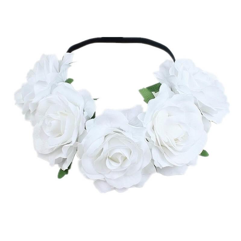 Bloemen haarband wit