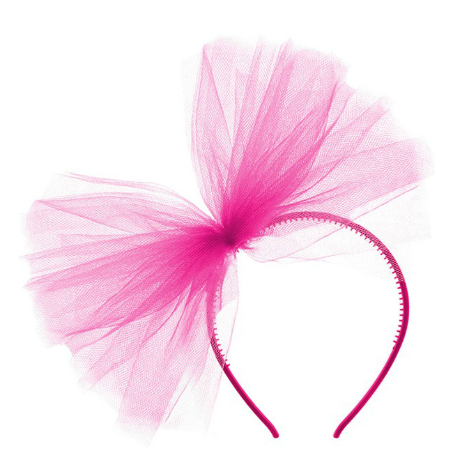 Diadeem met fuchsia roze tule