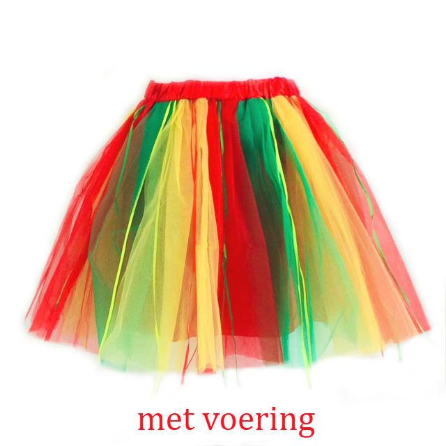 Tule rok carnaval (rood geel groen)