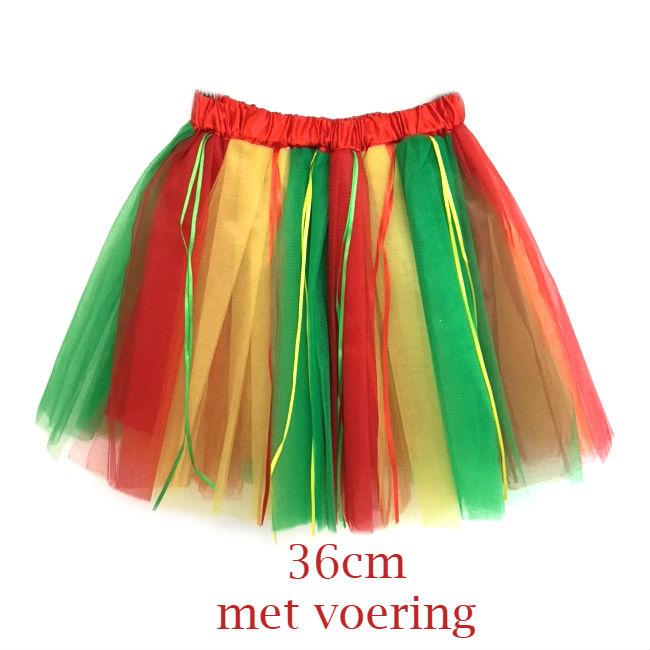 Tule rok carnaval - rood geel groen 36cm