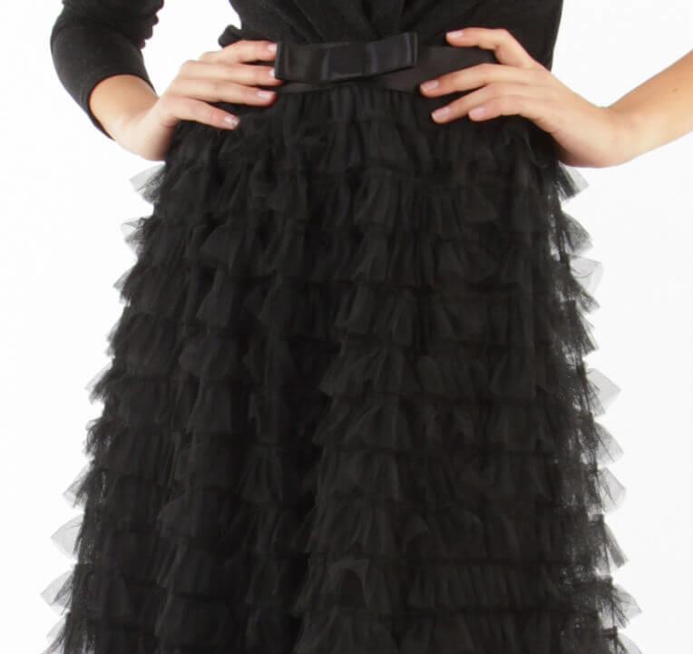 Zwarte lange tule rok