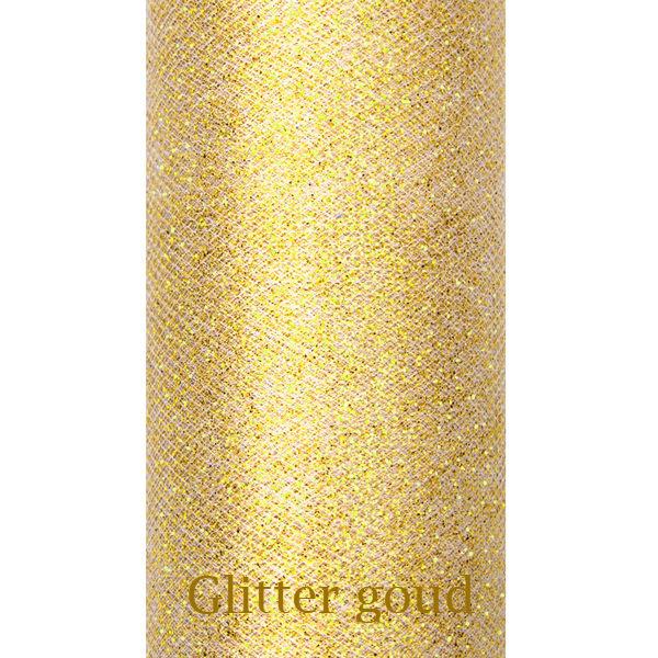Gouden glitter tule 9m