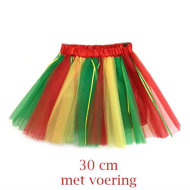 Tule rok carnaval - rood geel groen 30cm