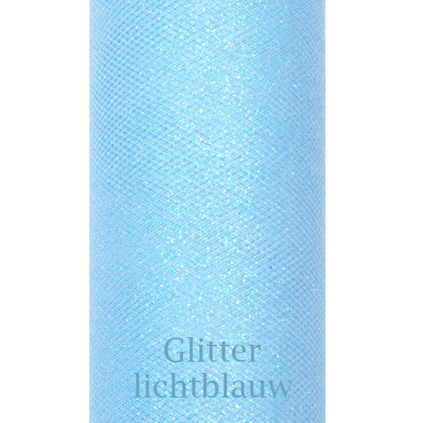 Lichtblauw glitter tule 9m